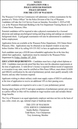 Notice - Examination for a Police Officer Position