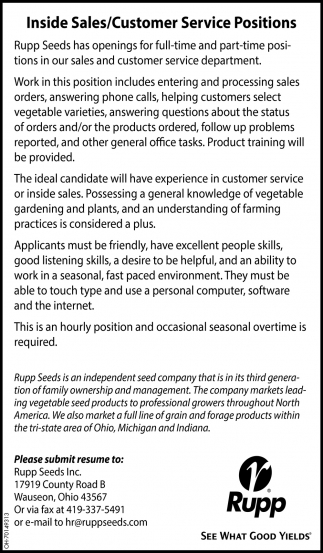 Inside Sales / Customer Service Positions