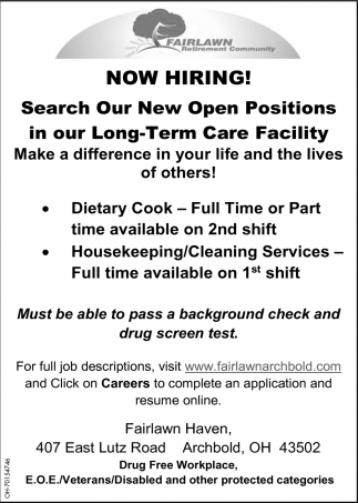 Dietary Cook ~ Housekeeping/Cleaning Services
