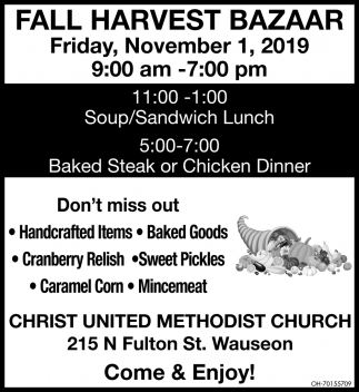 Fall Harvest Bazaar - November 1