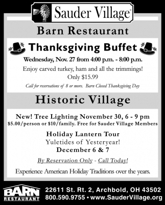 Thanksgiving Buffet - Nov. 27