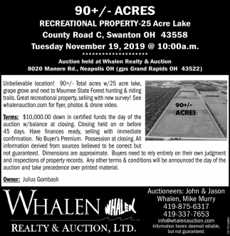 90+/- Acres Auction - November 19