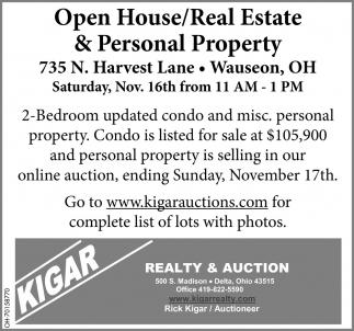 Open House/Real Estate Auction - November 16th