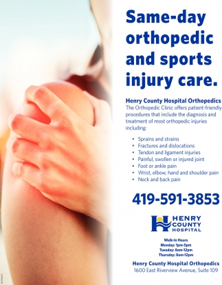 Same-day orthopedic and sports injury care