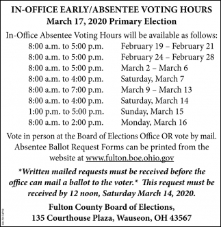 In-Office Early/Absentee Voting Hours