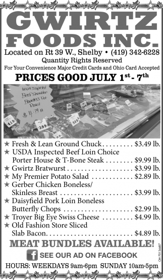 Prices Good July 1st - 7th