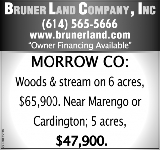 Woods & stream on 6 acres $65,900 Near Marengo or Cardington 5 acres $47,900