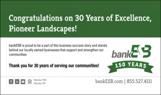 Congratulations on 30 Years of Excellence, Pioneer Landscapes!