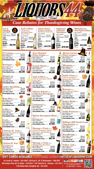 Case Rebates for Thanksgiving Wines