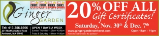 20% OFF All GIft Certificates