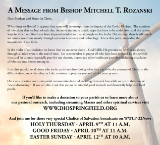 A Message From Bishop Mitchell T. Rozanski