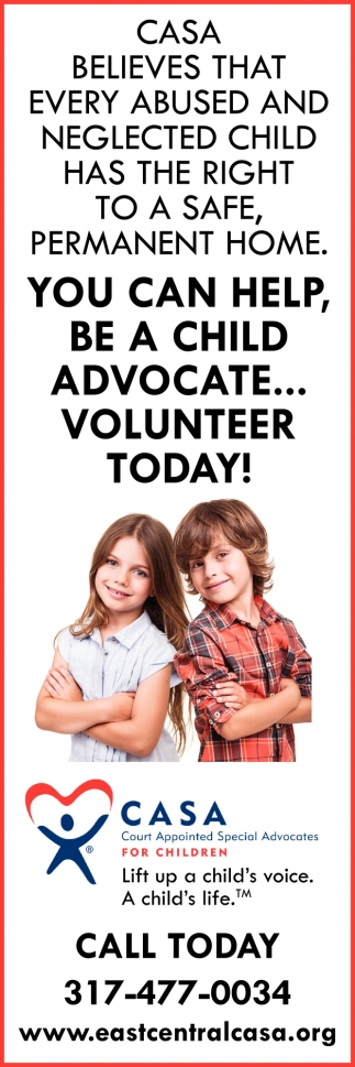 You Can Help, Be A Child Advocate... Volunteer Today!