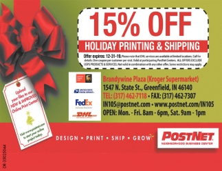15% Off Holiday Printing & Shipping