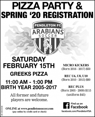 Pizza Party & Spring '20 Registration