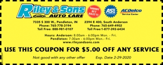 Use This Coupon For $5.00 Off Any Service