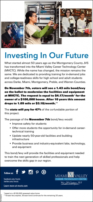 Investing In Our Future Miami Valley Career Technology Center