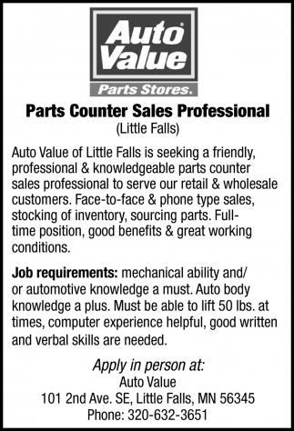 Parts Counter Sales Professional Auto Value Little Falls Little Falls Mn