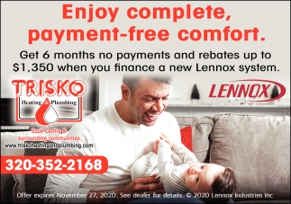 Enjoy Complete, Payment-Free Comfort, Trisko Heating And ...