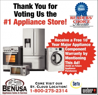 Thank You For Voting Us The 1 Appliance Store Benusa Appliance Sales And Services Sauk Centre