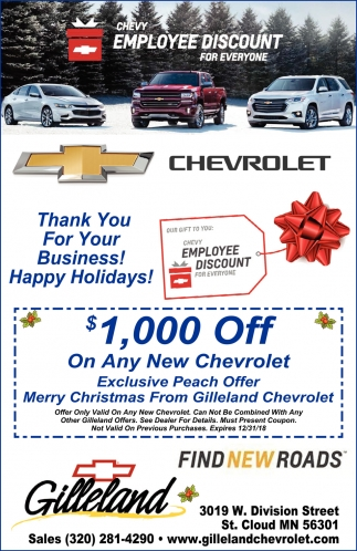 Chevy Employee Discount For Everyone Gilleland Chevrolet St Cloud Mn
