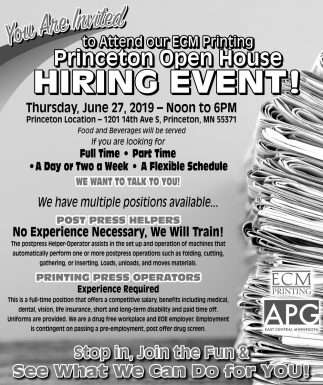 You're Invited to Attend Our ECM Printing Princeton Open House Hiring Event