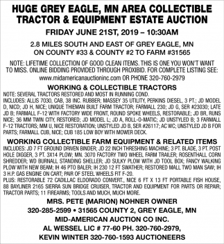 Huge Grey Eagle, MN Area Collectible Tractor & Equipment Estate Auction
