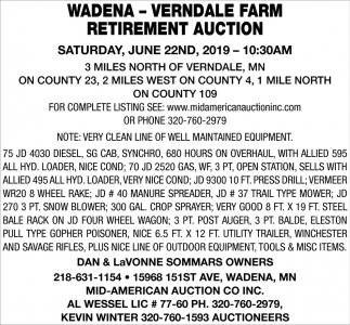 Wadena - Verndale Farm Retirement Auction