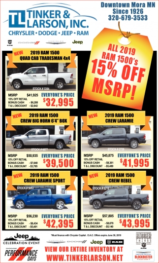 All 2019 RAM 1500's 15% OFF MSRP!