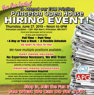 Princeton Open House Hiring Event