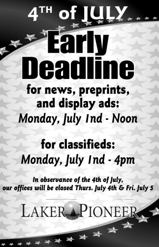 4th of July Early Deadline for News, Prepints,