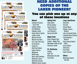 Need Additional Copies of the Laker Pioneer?