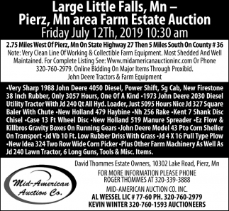 Large Little Falls, MN - Pierz, MN Area Farm Estate Auction