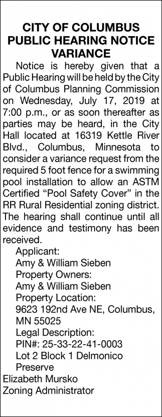 Public Hearing Notice Variance