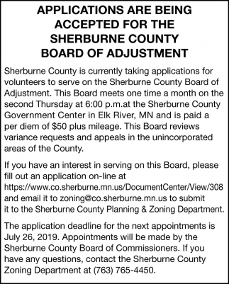 Applications are Being Accepted for the Sherburne County Board of Adjustment