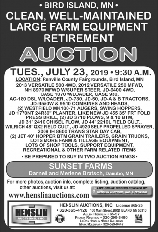 Clean, Well-Maintained Large Farm Equipment Retirement Auction