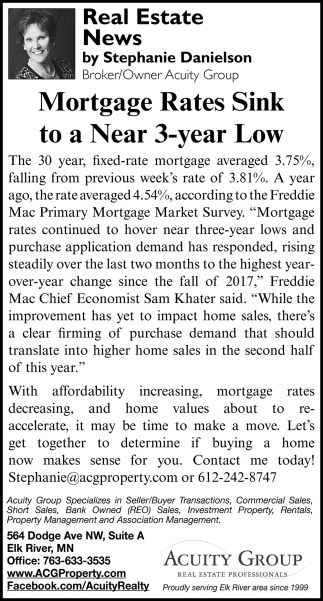 Mortgage Rates Sink to a Near 3-Year Low