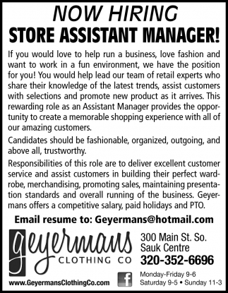 Store Assistant Manager