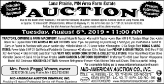 Long Prairie, MN Area Farm Estate Auction