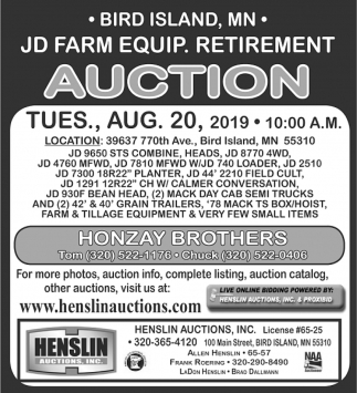 JD Farm Equip. Retirement Auction