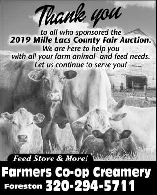 Thank You to All who Sponsored the 2019 Mille Lacs County Fair Auction