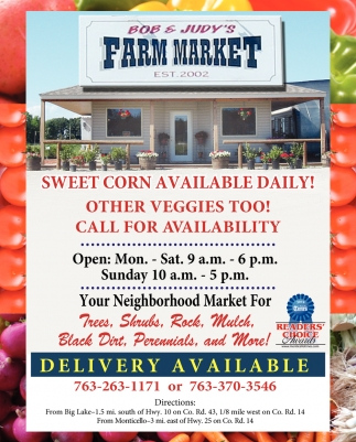 Sweet Corn Available Daily!