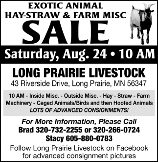 Exotic Animal Hay-Straw & Farm Misc Sale