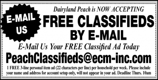 Now Accepting FREE Classifieds by E-Mail
