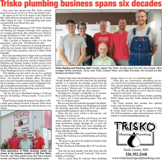 Trisko Plumbing Business Spans Six Decades