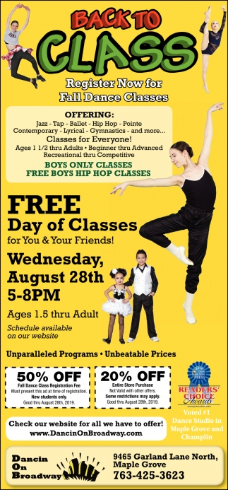 Register Now for Fall Dance Classes