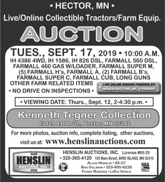 Live/Online Collectible Tractors/ Farm Equip.