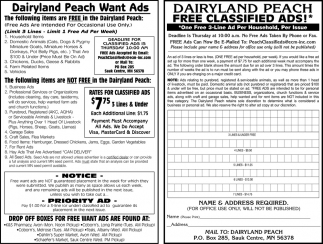 Dairyland Peach Want Ads