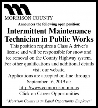 Intermittent Maintenance Technician in Public Works