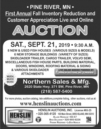First Annual Fall Inventory Reduction & Customer Appreciation Live and Online Auction