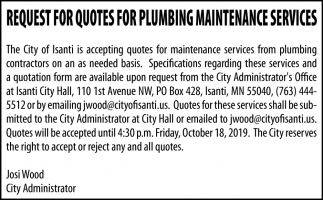 Request for Quotes for Plumbing Maintenance Services